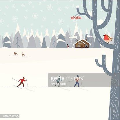 Cross-country skiing : Vector Art