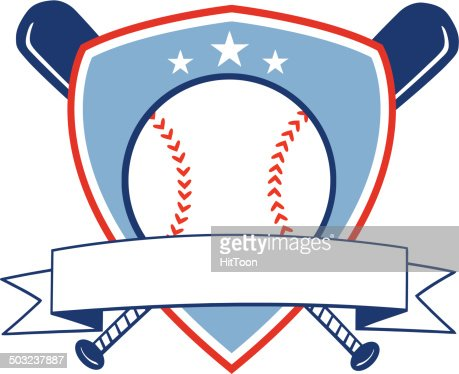 Crossed Baseball Bats With Ball Logo With Blue Banner ...