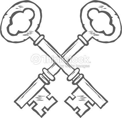 Crossed Hand Drawn Keys Design Element Vector stock vector
