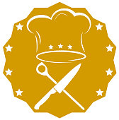 crossed kitchen knife, cooking spoon and toque cooking icon vector illustration