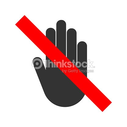 No Entry Crossed Out Sign Stop Hand Gesture Icon Vector Vector Art