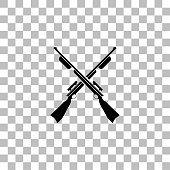 Crossed shotguns, hunting rifles. Black flat icon on a transparent background. Pictogram for your project