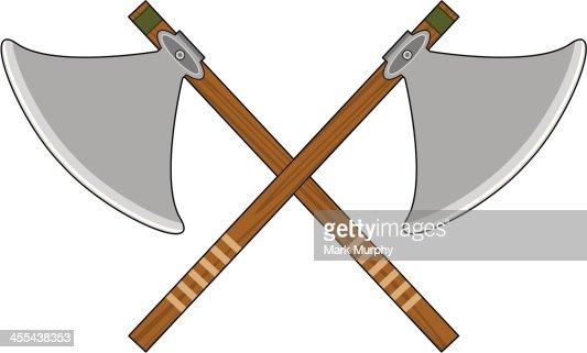 Crossed Viking Axes Ve...