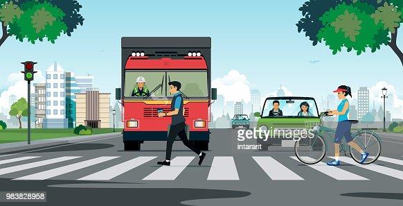 A crosswalk in the city : stock vector