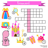 Crossword for girls. Educational children game with answer. Princess theme. Learning vocabulary.