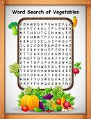 Illustration of Crossword puzzles word find vegetables for kids games