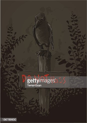 Crow guarding an entrance : Vector Art
