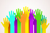 Crowd of colorful happy hands. Volunteering, charity or voting concept. Vector illustration