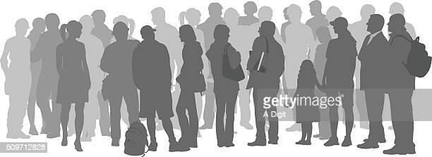 Crowd Of Grey Silhouette People