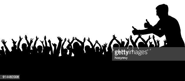 Multitud De Gente Silueta: Multitud De Personas Aplaudiendo La Silueta Gente De