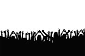 Crowd of people are applauding. People show gestures of happiness and support with raised hands. Silhouette of people crowd at concert, protest, party. Vector