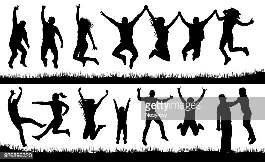 Crowd of people jumping, friends man and woman set. Cheerful girl and boy silhouette vector collection : Vector Art