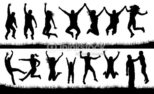 Crowd of people jumping, friends man and woman set. Cheerful girl and boy silhouette vector collection : arte vetorial