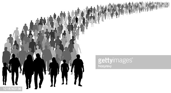 Crowd of people silhouette vector. Resettlement of refugees, emigrants. A lot of walking people : stock vector