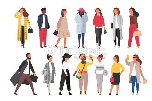 秋の服で歩く人の群れ。ベクトル図 : ベクトルアート