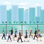 Illustration of men and women walking on the street.