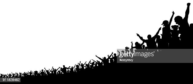 A crowd of sports fans. A crowd of people in the stadium. Silhouette vector : stock vector