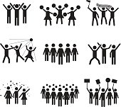 Vector icon set of groups of people in a club, sports match, cheerleaders, protest, strike, celebrations, concert and other