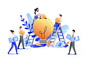Crowdfunding and investment into idea or business startup. Vector flat illustration. Young people putting money to bulb piggybank. Crowd funding, charity and teamwork concept.
