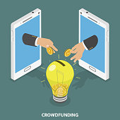 Crowdfunding flat isometric vector concept. Two hands appeared from smartphones and throwing coins into money box that looks like a big light bulb.