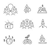 Crowdfunding and crowdsourcing outline icons