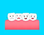 Dental problem concept, illustration. Isolated on blue background.