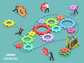Crowdsourcing flat isometric vector concept. Team of people are filling the light bulb outline with gears of different sizes and colors, symbolizing their contribution into common solution.