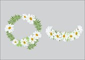 Crown daisy flower with fern ,headband   design top view and side view . cute crown with happiness feeling