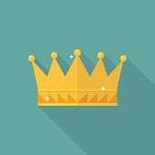 Crown icon in flat style. Vector illustration