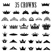 Crown icons. Princess crown. King crowns. Icon set. Antique crowns. Vector illustration. Flat style Silhouette