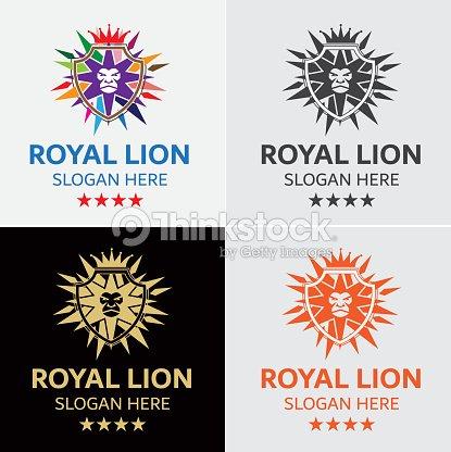 Krone Der König Der Löwen Wappen Vector Icons Vorlage Vektorgrafik ...