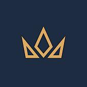 Crown logo on dark background. Vector illustration