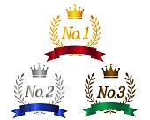 Crown Number Of Laurel. ribbon. Ranking.