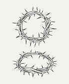 Crown of thorns. Crown christianity, element holy thorn, christ crown. Vector illustration