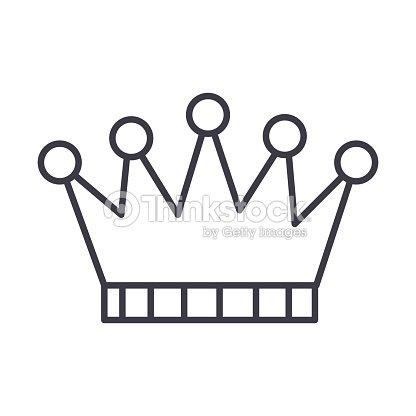 Corona Vector Línea Icono Signo Ilustración De Fondo ...