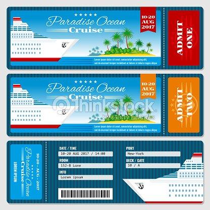 Cruise Ship Boarding Pass Ticket Honeymoon Wedding Invitation Vector ...