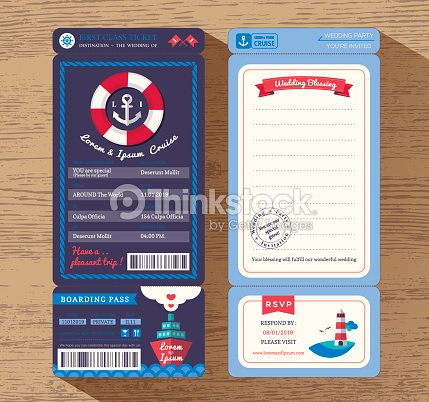 Cruise Ship Boarding Pass Ticket Wedding Invitation Template Vector ...