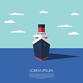 Cruise ship holiday vacation. Modern flat design low polygonal model of a ship. Eps10 vector illustration.