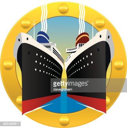 Cruise Ships Through a Porthole : Vector Art