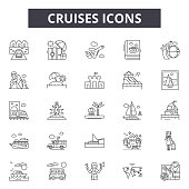Cruises line icons, signs, vector set, outline concept linear illustration