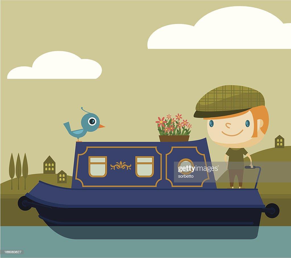 Cruising on the narrow boat : Vector Art