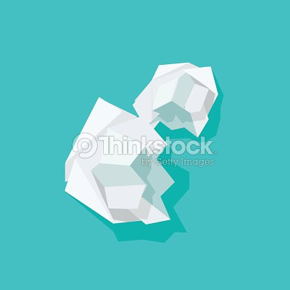 crumpled paper ball vector illustration isolated on blue background