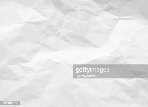 Crumpled paper texture. White battered paper background. White empty leaf of crumpled paper. Torn surface of letter blank. Vector illustration : stock vector