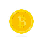 Crypto currency Bitcoin internet  virtual money.  Vector icon of the bitcoin digital cryptocurrency. Blockchain based secure.