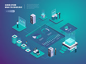 Cryptocurrency and blockchain isometric composition with business people, analysts and managers at work. Digital money market, investment, finance and trading. Vector isometric illustration.