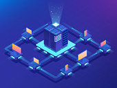 Cryptocurrency and Blockchain concept. Farm for mining bitcoins. Isometric vector illustration.