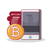 bitcoin design with smartphone device over white background, colorful design vector illustration