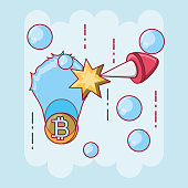 cryptocurrency design with frozen bitcoin coin over blue background, colorful design vector illustration