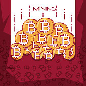 Design of mining bitcoins with coins over white and red background, colorful design vector illustration