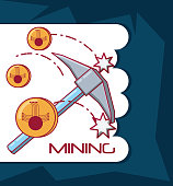 Cryptocurrency mining design with pickaxe and coins over white and blue background, colorful design vector illustration